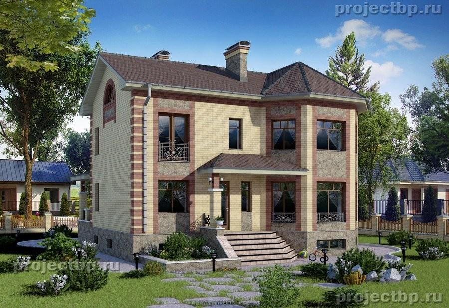Проект двухэтажного дома с эркером в классическом стиле 211-B